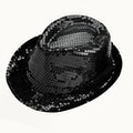 Sequin Trilby Hat - Black