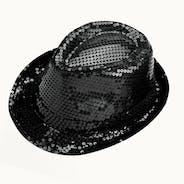 Sequin Trilby Hat - Black