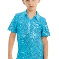 Male Sequin Dance Shirt - Turquoise