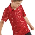 Male Sequin Dance Shirt - Red