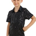 Male Sequin Dance Shirt - Black