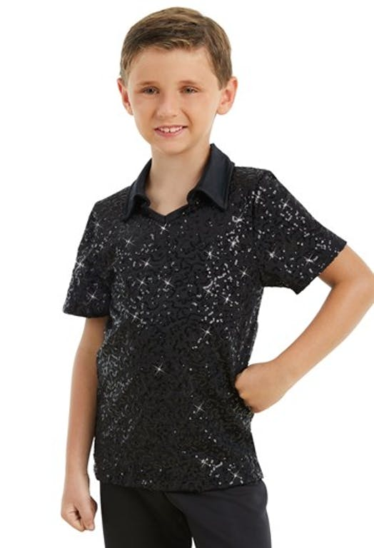 Male Sequin Dance Shirt - Black Male costume for hire